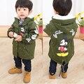 Minnie Baby Boys Girls Hooded Jacket Coat Winter Kids Boy Windbreaker Plus Thicken Fleece Velvet Outerwear Clothes