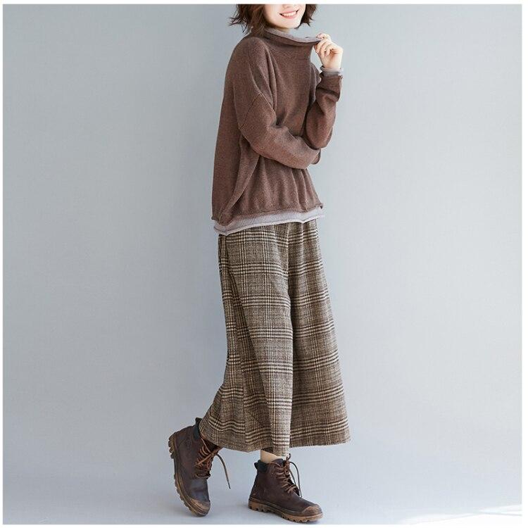 Plus Size Women Wide Leg Pants Autumn Harem Pants Plaid Casual Vintage Korean 2018 Oversize New Elastic Waist Woolen Pants 10