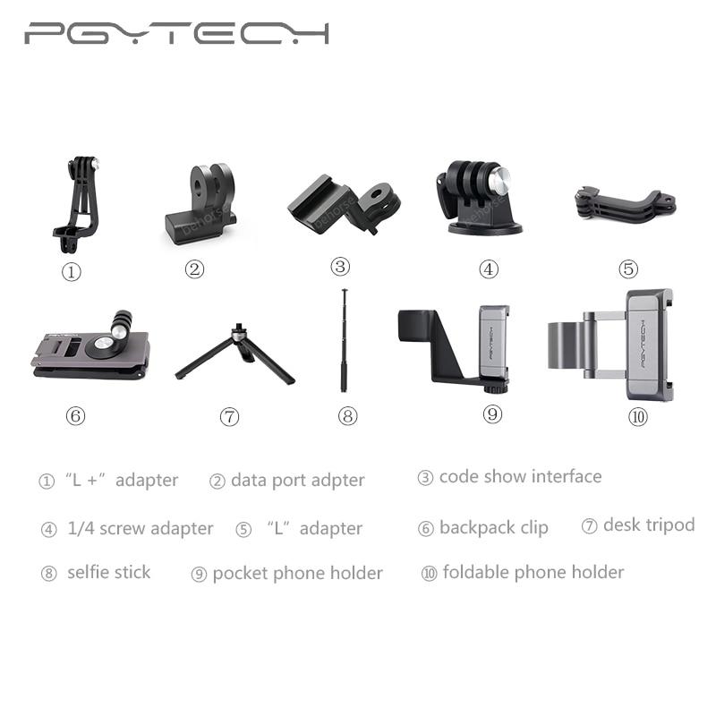 13 Types Optional PGYTECH DJI OSMO POCKET Adapter Mount Holder Clip Selfie Stick Tripod Action Camera Gimbal Accessories