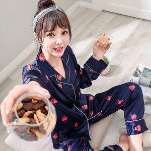 Image 2 - Women Silk Satin Pajamas Pyjamas Set 2019 Cute Design 2 Pcs Night Shirts Pants Home Wear For Female Girl Sleepwear Suit