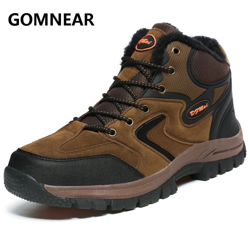 GOMNEAR  New Arrival Winter Men Waming Hiking Shoes Outdoor Non-Slip Winter Trekking Sports Shoes Big Size Men Comfort Sneakers big size 46 men s winter sneakers plush ankle boots outdoor high top cotton boots hiking shoes men non slip work mountain shoes