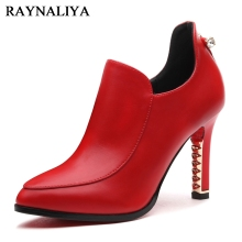 цены New Arrival Hot Sale Simple Fashion High Quality Cow Leather Women Pumps High Heels Pointed Toe Party Shoes Woman YG-B0062