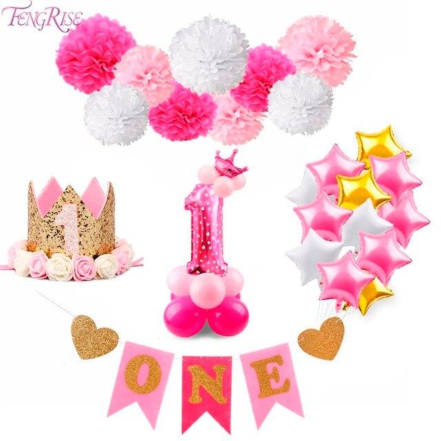 New FENGRISE 1st Verjaardag Party Decor 1 Jaar Een Pasgeboren Eerste #RO91