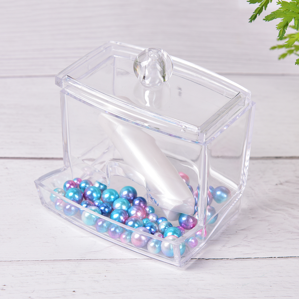 Cosmetic Makeup Organizer Case Clear Acrylic Storage Holder Box Transparent Cotton Swabs Stick High Quality