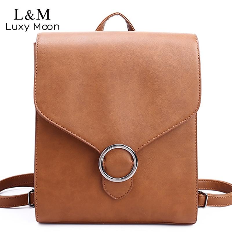 168d339fb2cd Fashion Women Leather Backpack Multifuction Brown Black Backpacks Teenage  Girls Shoulder School Bags sac a dos
