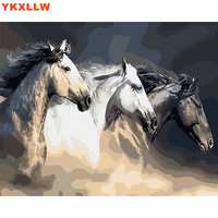 White Horse Animal Painting By Numbers Kits Abstract Paints Number Oil Painting Drawing Pictures On Canvas