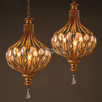 K9 Crystal Vintage Cafe Iron Restaurant Bronze Lantern Lamp Ceiling Light Store Bar Loft Home Corridor Hall Droplight Decor