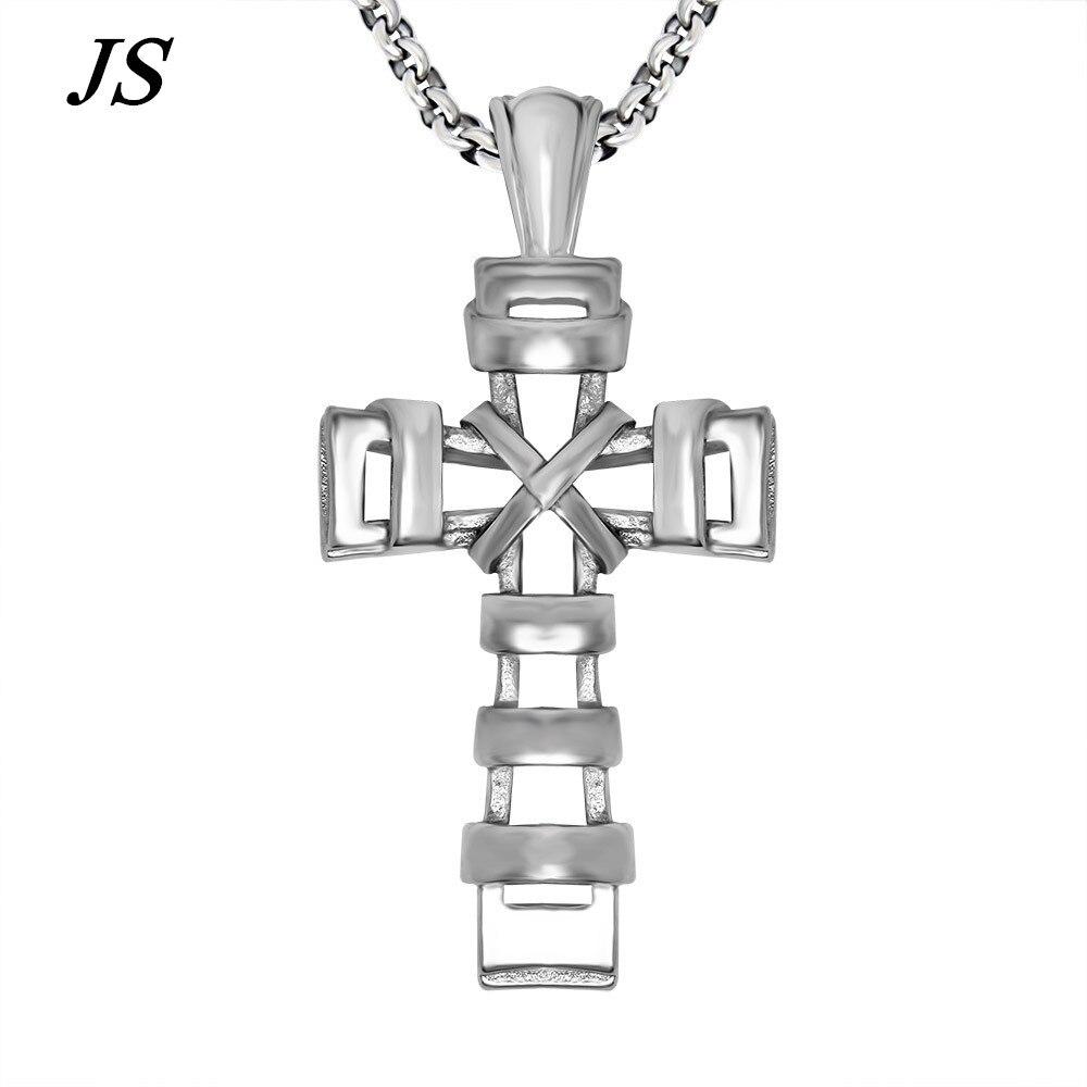 JS gótico Jesús Cruz colgante titanio diosa crucifijo collar bailarina de hip-hop hombres del collane regalos cristianos ugly joyería TN004