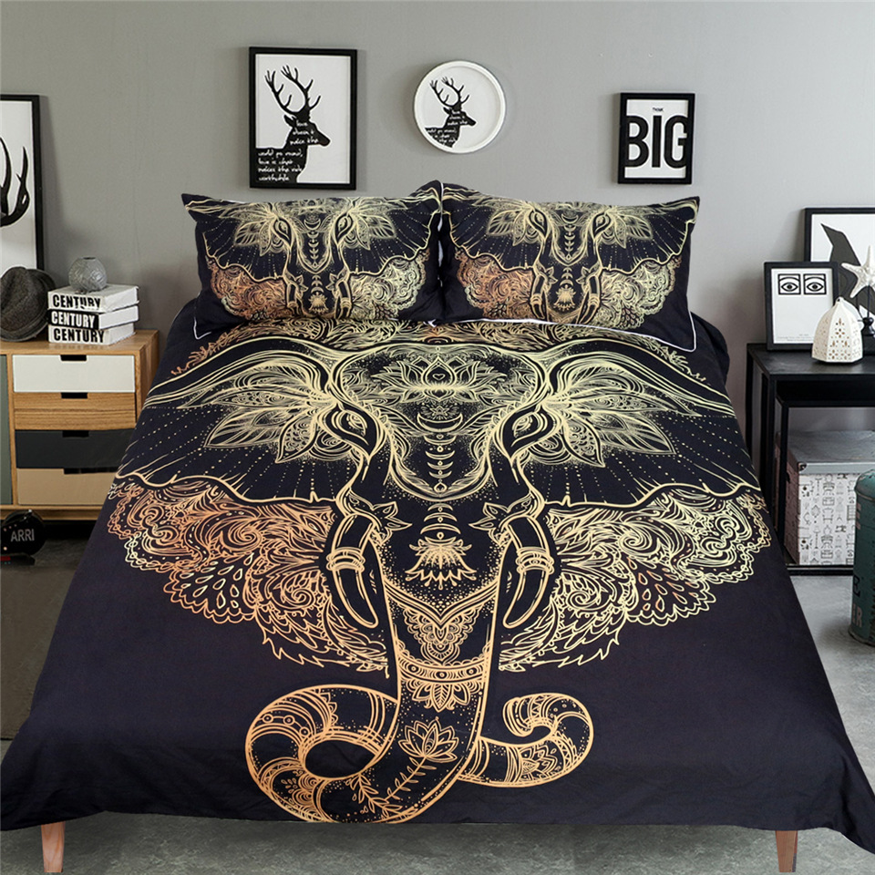 elephant black single Duvet Cover Set With Pillowcases twin double full queen king bedspread Bed Linen bedding set