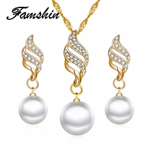 FAMSHIN Fashion Women Necklace Earrings Jewelry Sets Crystal Gold Color Big Simulated Pearl Wedding Party Jewelry Sets For Women