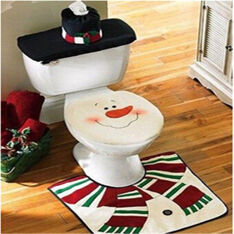 Santa claus toilet seat cover floor mat christmas washroom for Washroom set