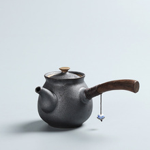 New Arrival Ceramics Japanese Style Tea Pot Vintage Kung Fu Tea Set Ebony Wooden Handle Teapots HandMade Tea Kettle Eco-Friendly