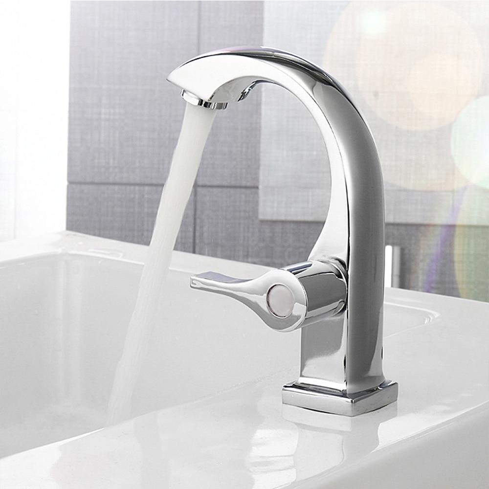 1pc brand new Chrome Bathroom Basin Cooper Tap Single Handle Spout Sink Bath Faucet high quality suitable for home