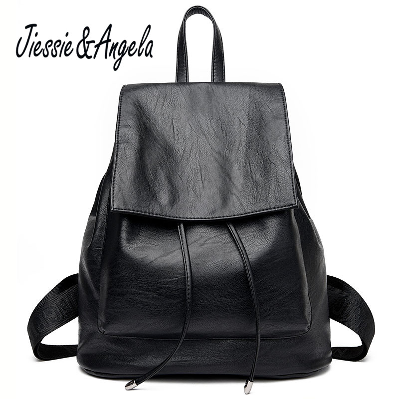 Jiessie & Angela new women backpack high quality pu leather fashion casual ladie shoulder bag teenage girls school backpack annmouler women fashion backpack pu leather shoulder bag 7 colors casual daypack high quality solid color school bag for girls