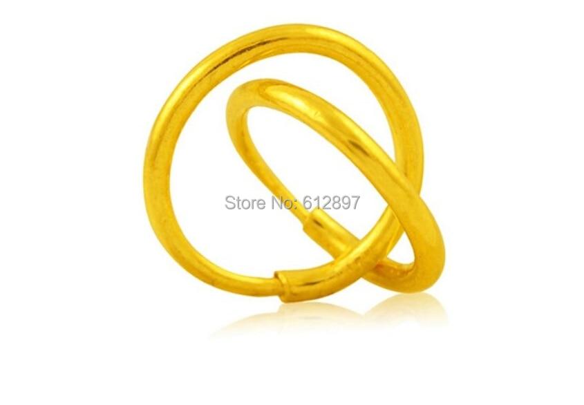 Solid 24K Yellow Gold Smooth Circle Earrings / 1.32g solid 999 24k yellow gold earrings women s little circle hoop earrings 1 42g