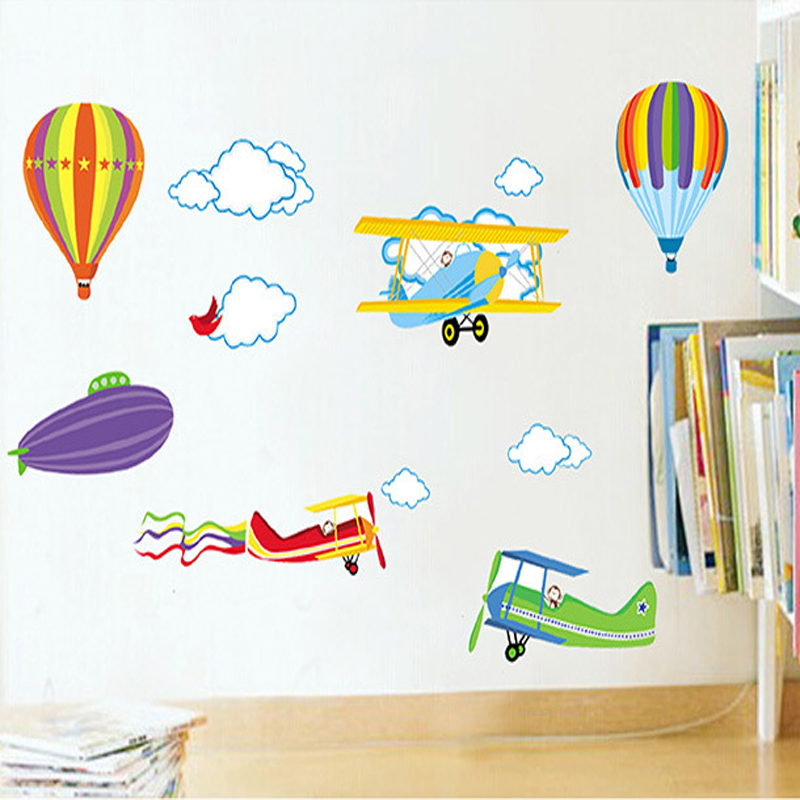 Cartoon Wall Stickers For Kids Baby Rooms Decor Removable Vinyl Nursery Children Room Wall Decals Airplane And Hot Air Balloons image