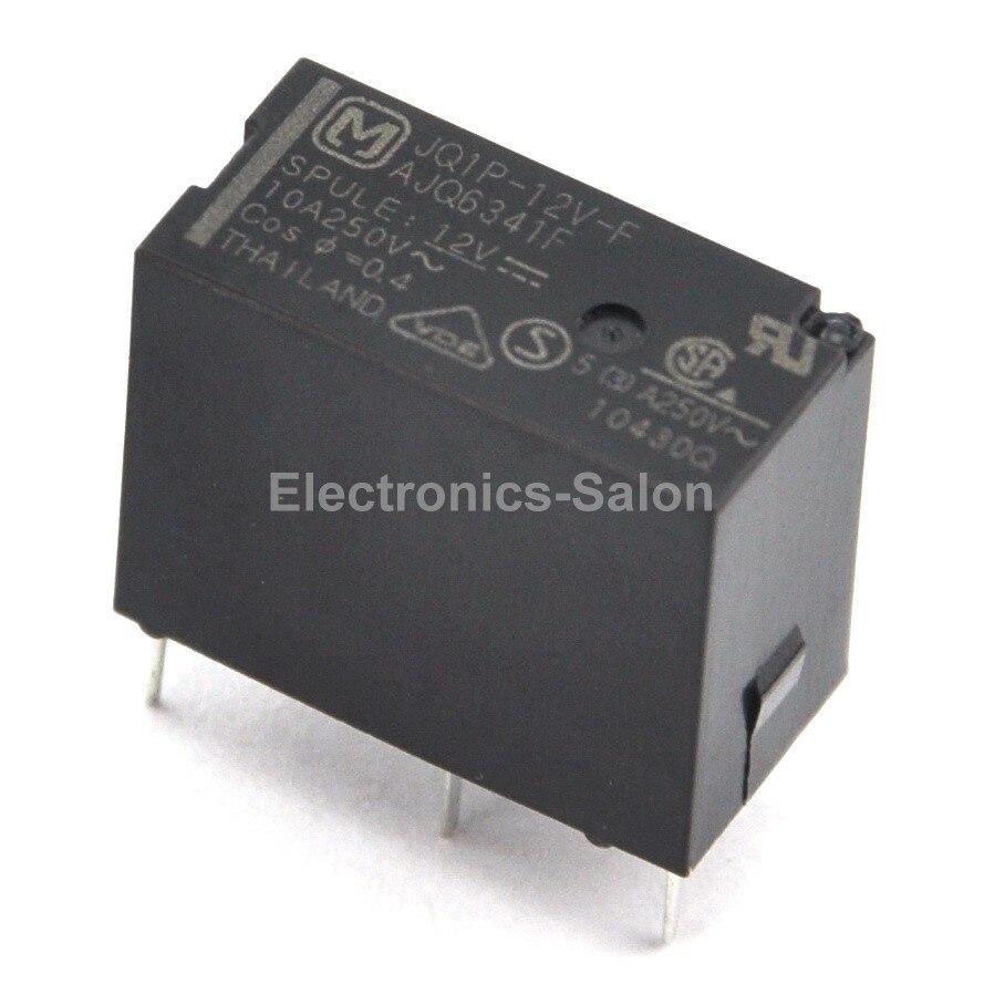 ( 2 Pcs/lot )  JQ1P-12V-F 10A Small Power Relay, SPDT / 1 Form C, DC 12V.