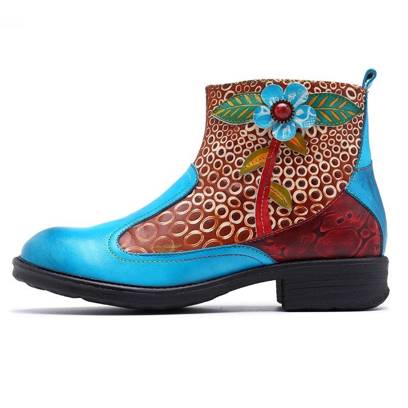 Femmes Talon Cuir Bleu Bohème En Bottes Rétro Véritable Fleur Printemps Plat Denim Chaussures La Zipper Main À Mstacchi Cheville Hgqx0tHZ