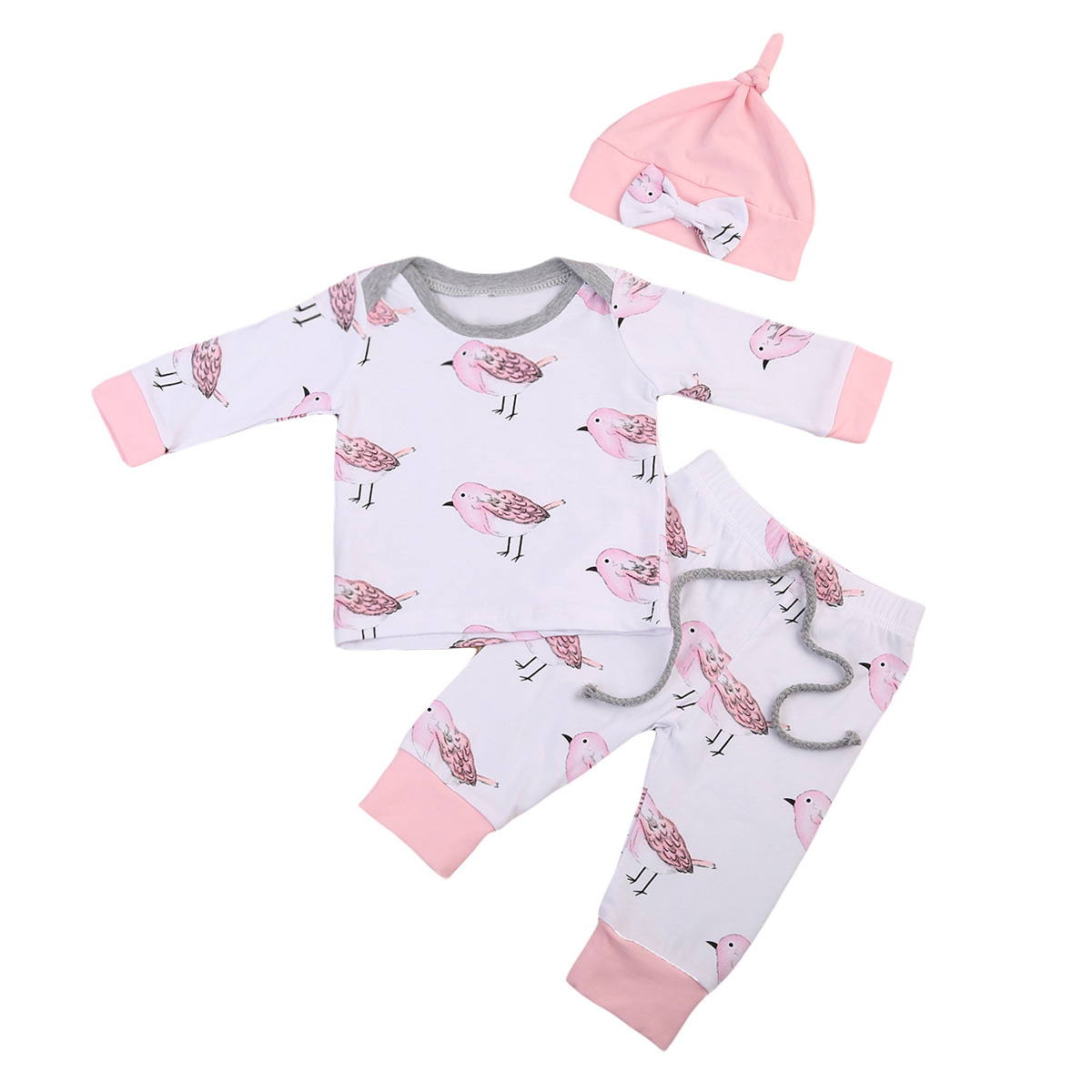 Newborn Baby Girls Clothes Sets Cotton Tops Long Sleeve Pants Hat 3PCS Cotton Outfits Set Clothing Baby Girl 0-24M girls tops cute pants outfit clothes newborn kids baby girl clothing sets summer off shoulder striped short sleeve 1 6t