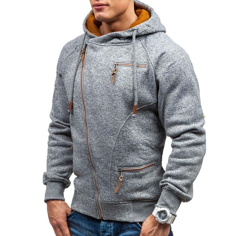 Men Autumn Hoodies Zipper Cardigans Hooded Long Sleeves Pockets Male Sweatshirt Top Coats FS99