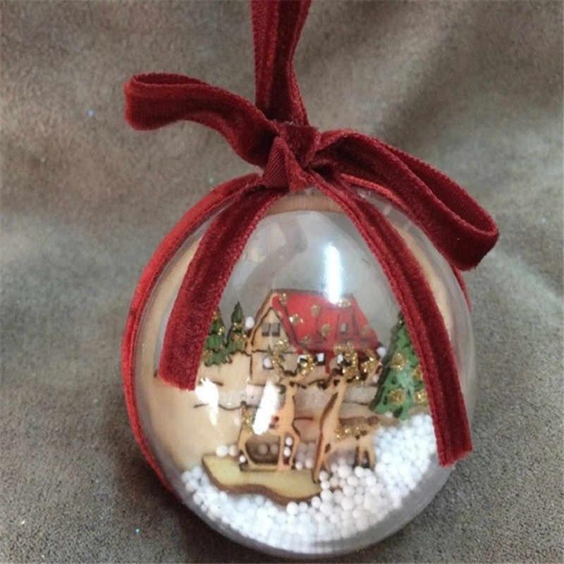2 STÜCKE Weihnachtsbaum Ornamente Für Zuhause Durchsichtigen Kunststoff Weihnachtskugeln Dekorationen Für Baum Weihnachtskugel Transparent Party Decor