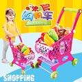 46 UNIDS Plástico Chica Niños Cesta de la compra Juego de Imaginación Cocina Juego de Juguetes de Alimentos, Frutas y Verduras de Juguete Casa de Juego