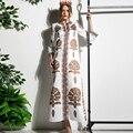 Свободные Женщины Платья Европейский Полный Flare Рукавом Мода Весна Лето Печати Улица Бисером Incity 2017 Vintage Новый Dress