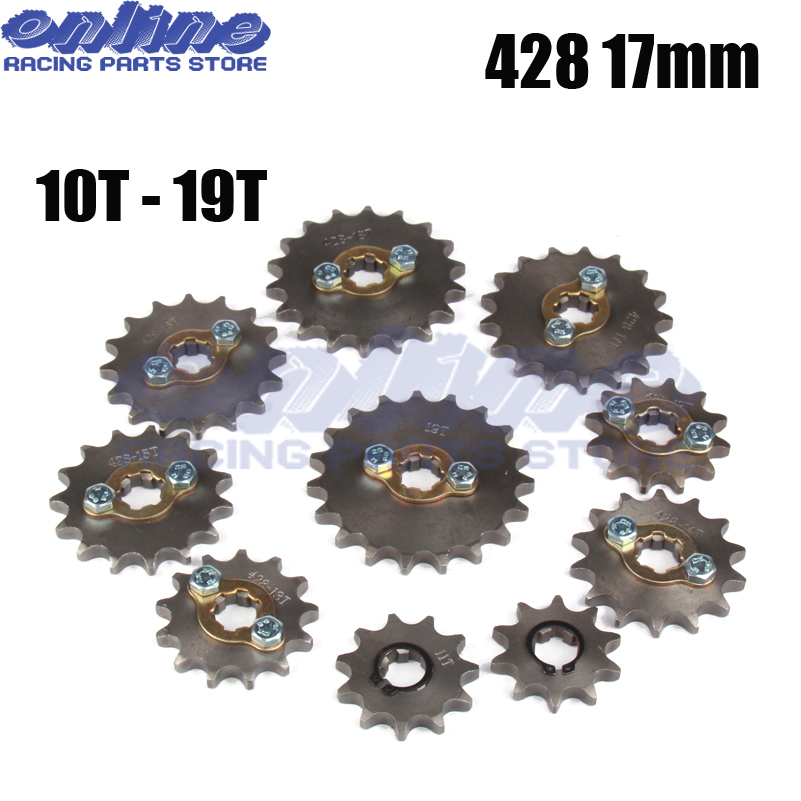 Front Engine Sprocket 428 17mm 10T-19T 12Tooth for Stomp Upower Dirt Pit Bike ATV Quad Go Kart Moped Buggy Scooter Motorcycle 428 10t 19t 20mm front engine sprocket for stomp ycf upower dirt pit bike atv quad go kart moped buggy scooter motorcycle