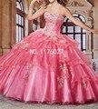 DK Noiva Hot Pink Red Querida Vestidos de Ouro Apliques Doce 16 Vestidos Quinceanera vestido de Baile de Organza Vestidos de Festa