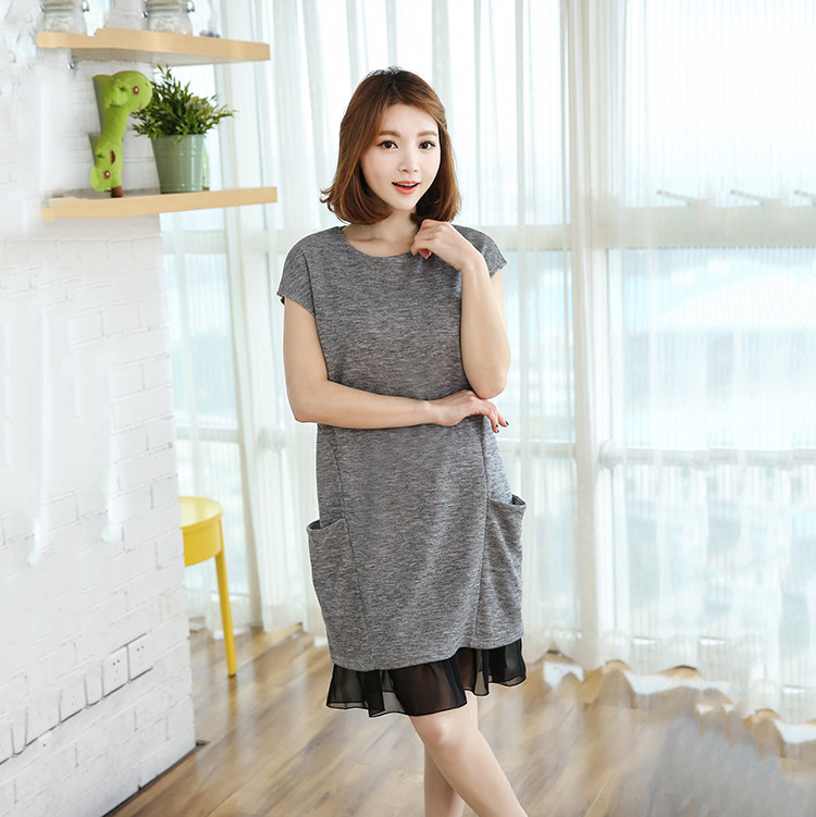 Pregnant Women Dress Pocket Patchwork Lace Short Sleeve Pregnancy Dress New Fashion O-neck Plus Size Maternity Clothing