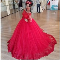Gorgeous Tulle Applique Lace Boat Neck Long Sleeve Ball Gown Red Cheap Quinceanera Dresses 15 Years Party Zipper Up Court Train