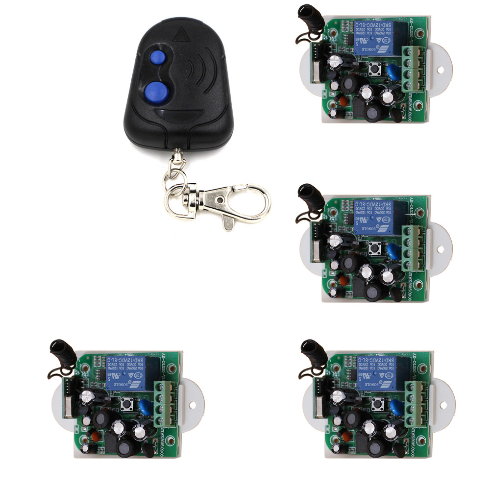 цена на Latest AC 85V 110V 220V 250V 1CH RF Remote Control Switch System 1X Transmitter + 4 X Receiver 1CH Relay Smart Home 315/433
