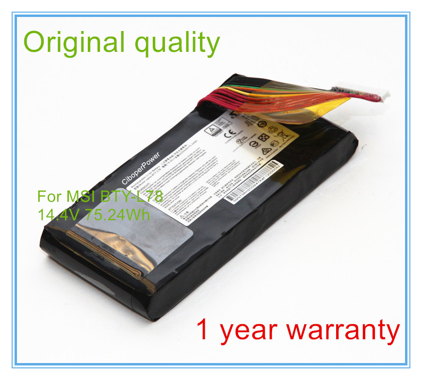 Original quality Laptop Battery For GT80 BTY-L78 GT73VR GT83VR 6RF-026CN 2QE-035CN VR laptop battery for msi gt80 bty l78 gt73vr gt83vr 6rf 026cn 2qe 035cn vr 6re 013cn s5 67sh1 s 14 4v 8 cell new and original