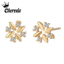 Chereda Charm Flower Golden Stud Earring for Women Small Lover Elegant Earrings Gift pendientes boucle doreille