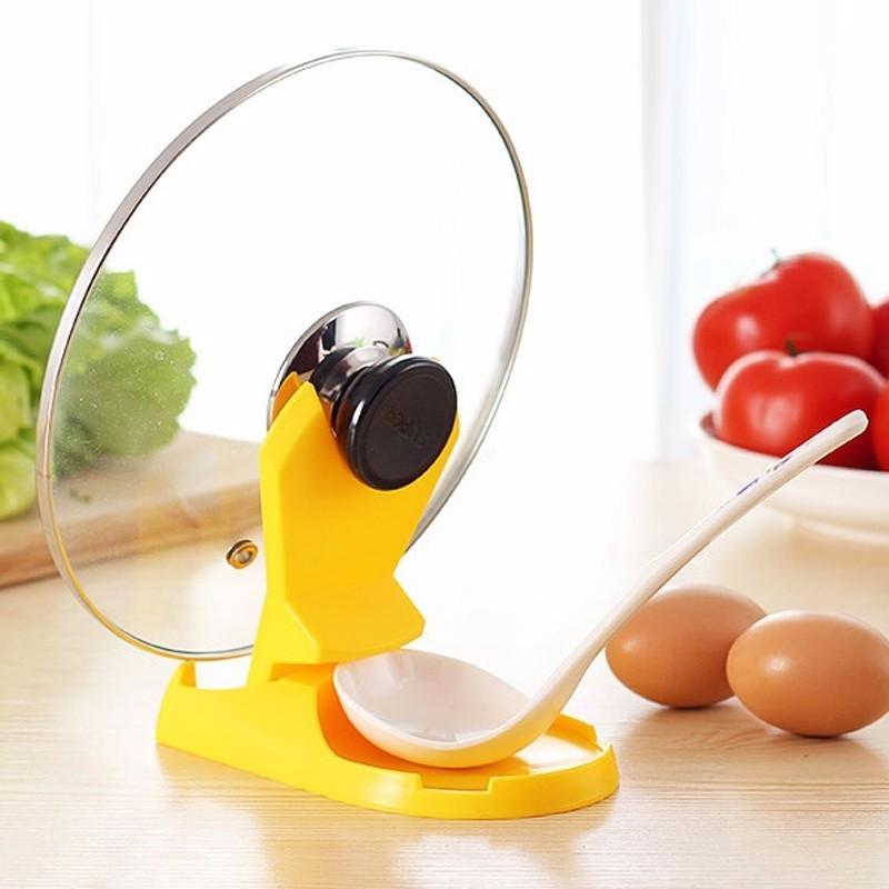 1pc Pot Lid Shelf Dispenser Pan Spoon Pot Holder Kitchen Storage Design Cooking Tool  (8)