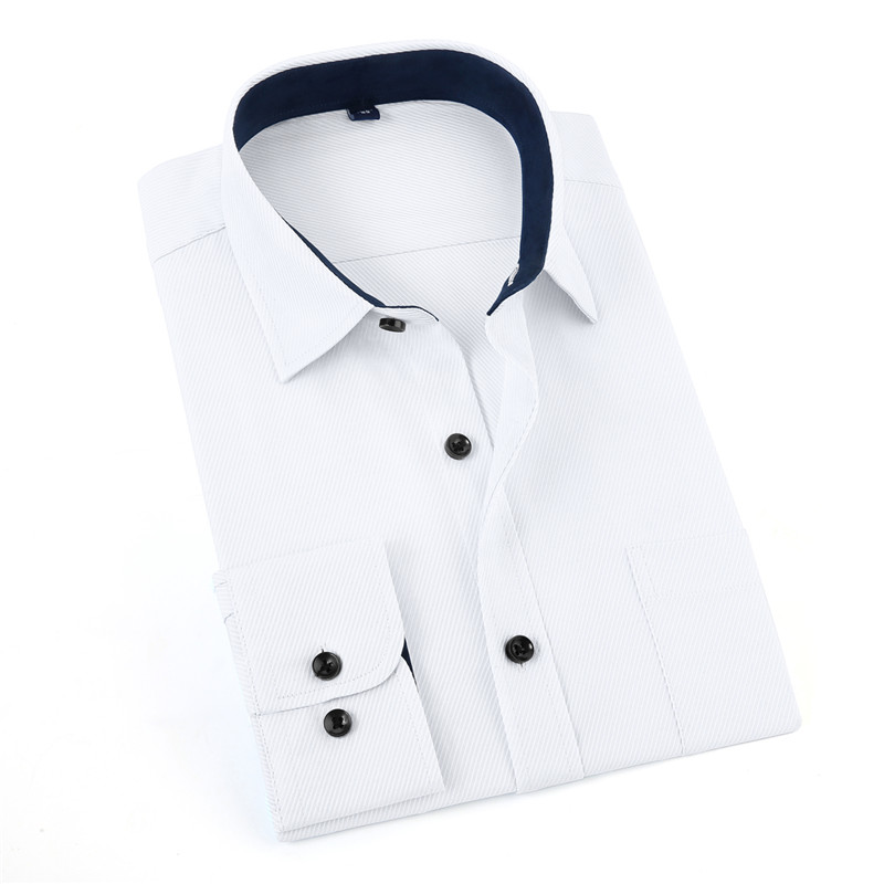 Jeetoo Casual Long Sleeve Men's Solid White Shirt Work Formal Autumn Turn-Down Collar Smart Casual Camisa Dos Homens 3XL 2018