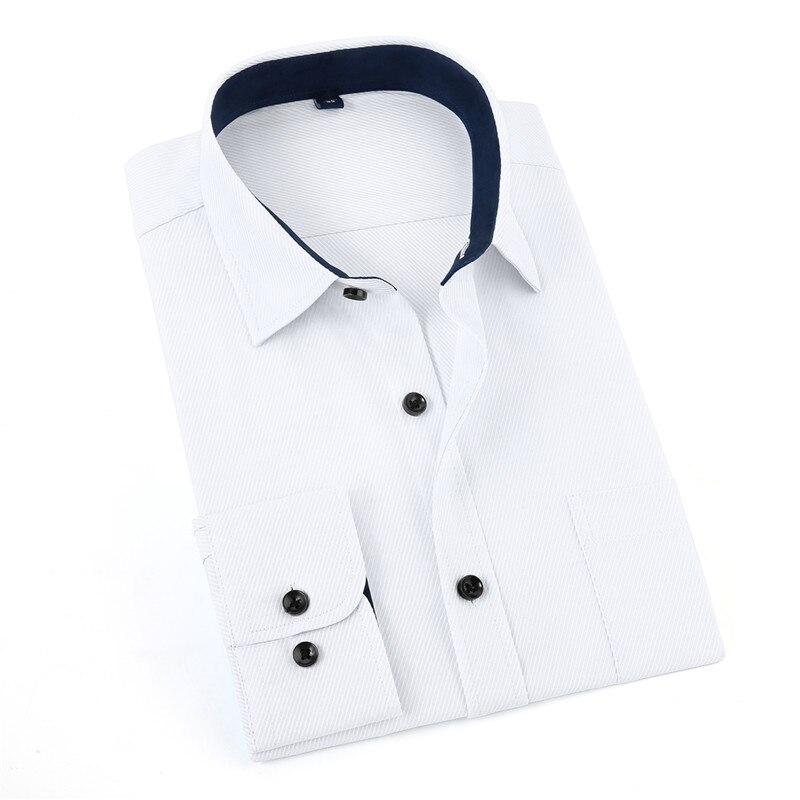 Jeetoo Ocasional Sólida dos homens de Manga Longa Camisa Branca Formal de Trabalho Outono Turn-Down Collar Smart Casual Camisa Dos Homens 3XL 2018