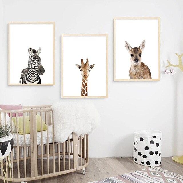 Baby Animal Zebra Girafe Deer Wall Art Canvas Poster Nordic Nursery Prints Painting Picture Children Bedroom