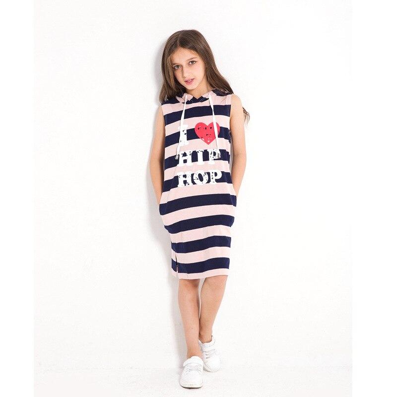 9fefc782ec9aaa1 Детские платья, Полосатое летнее платье для девочек, без рукавов, с  капюшоном, с