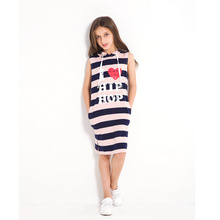 Children Dresses Striped Girl Summer Dress Sleeveless Hooded Pocket Sport Dress for Little Kids Girl Size 6 7 8 9 10 12 14 years girls dress striped sleeveless ruffles kids dresses o neck tops tank children clothes summer 2018 size 9 10 11 12 13 14 years