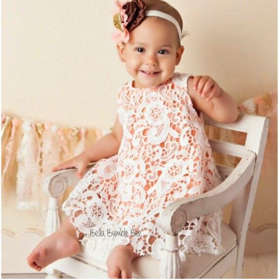 Us 1299 Pfirsich Spitze Baby Outfit Spitze Swing Top Set Boutique Spitze Babyspielanzug Pumphose Pfirsich Taufe Outfit Spitzenkleid In