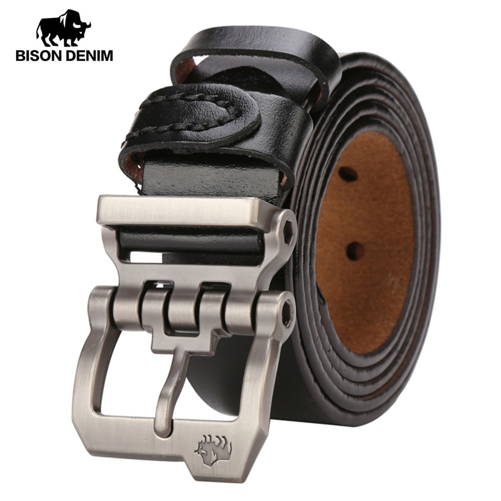 EDNA USA-Made Leather Worker Standard Belt with Solid Brass Pin Buckle