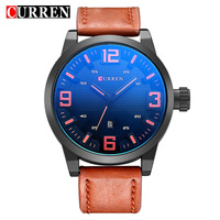 Curren Men S Watch Fashion Brand Round Dial Watches Men Luxury Leather Black White Buckle Luminous
