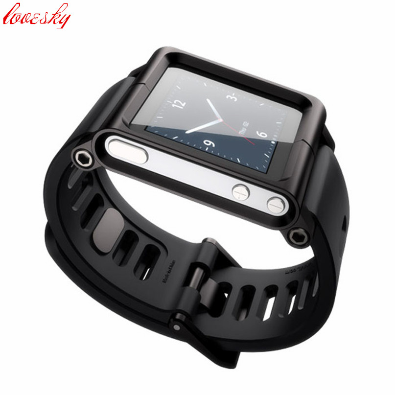 Aluminum Silicone Mix Case Multi Touch Watch Band For iPod Nano 6 6th