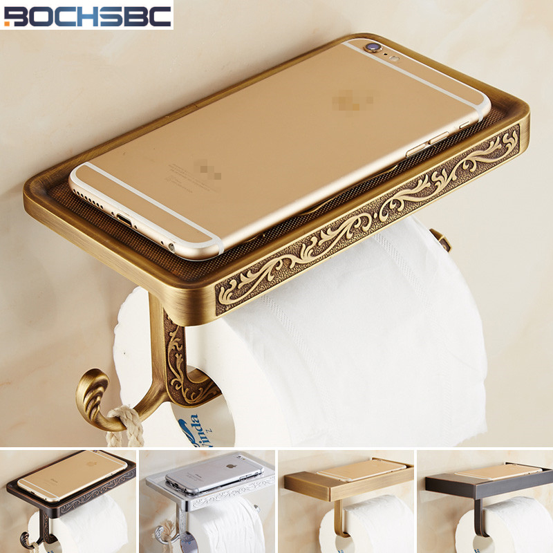 BOCHSBC Paper Holders Antique Copper Black Rose Gold Silver Roll Paper Mobile Rack European Zinc Alloy Toilet Roll Paper Holder стоимость