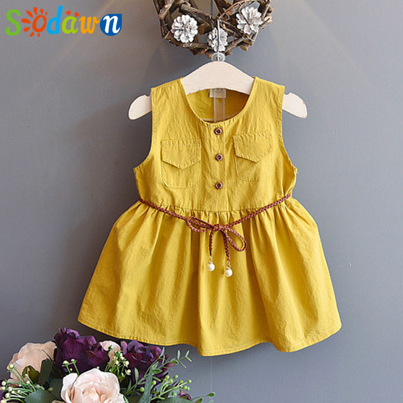 Sodawn Fashion Kids Girls Dress New Style Summer Beach Dress With Solid Princess Dress Children Clothing Baby Girls Dress