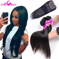 Peruvian Virgin Hair with Closure 3 Bundles with Closure Human Hair with Closure 7A Peruvian Virgin Hair Straight with Closure