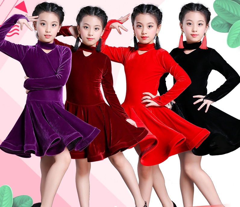 Children Girl Wine Velvet Latin Dresses Gymnastics Dancewear Competition Dancing Costume Child Ballroom Dance Dress For Girls