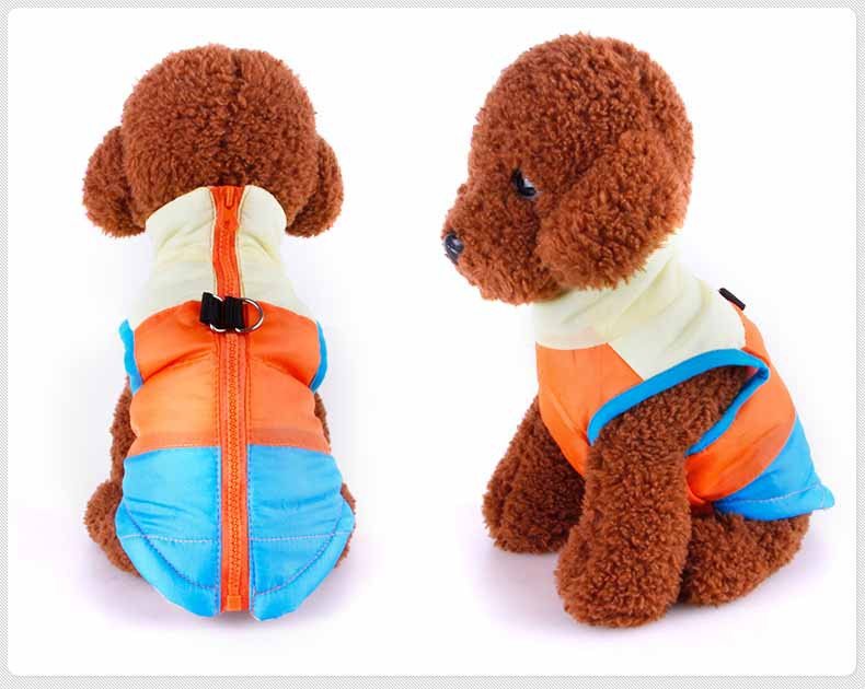 Popular Color Blocking Pet Apparel Dog Clothes Winter Puppy Dogs Vest Cotton-padded Jacket Coat for Chihuahua Teddy Poodle2