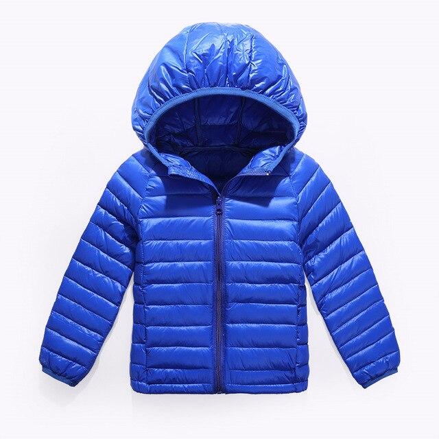 2-14Y Ultra light девочки мальчики пуховик 90% утка вниз пальто зима теплая детская одежда с капюшоном и карманом